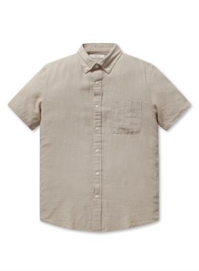 린넨 코튼 버튼다운 반팔 셔츠