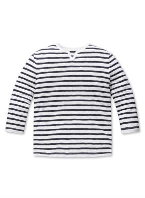 코튼 슬럽 슬릿 스트라이프 7부 티셔츠