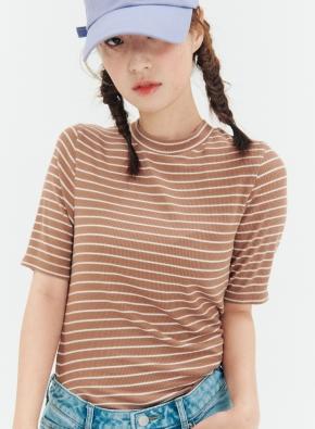 여성 모달 스판 골지 목넥 5부 티셔츠