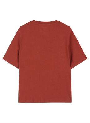 여성 포켓 세미 크롭 반팔 티셔츠