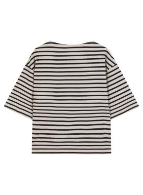 여성 코튼 스트라이프 7부 티셔츠