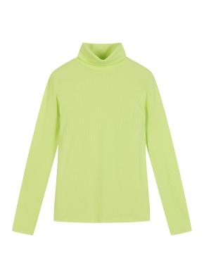 여성 레이온 스판 골지 터틀넥 티셔츠
