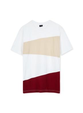 남성 컬러 블록 티셔츠 _ (BE)