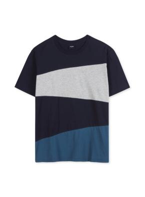 남성 컬러 블록 티셔츠 _ (NV)