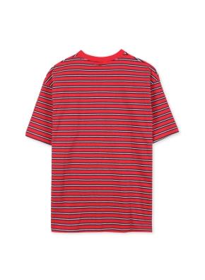남여공용 오버핏 컬러 스트라이프 반팔 티셔츠 _ (RD)