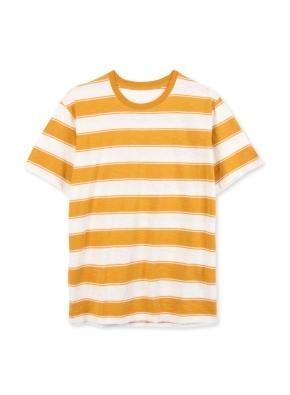 남여공용 말리부 스트라이프 반팔 티셔츠 _ (YE)