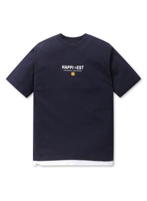 남여공용 스마일 그래픽 반팔 티셔츠 _ (NV)