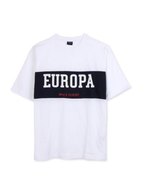 남여공용 컬러 블록 그래픽 반팔 티셔츠 _ (WT)