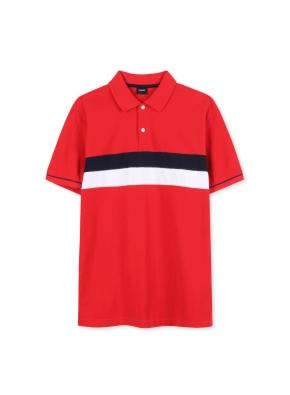 남여공용 블록 피케 티셔츠 _ (RD)