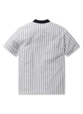 남여공용 인터락 스트라이프 피케 티셔츠 _ (WT)