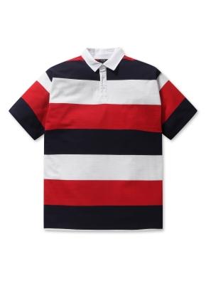 남여공용 스트라이프 피케 티셔츠 _ (RD)