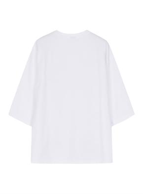 여성 오버핏 5부 라운드 티셔츠  _ (WT)