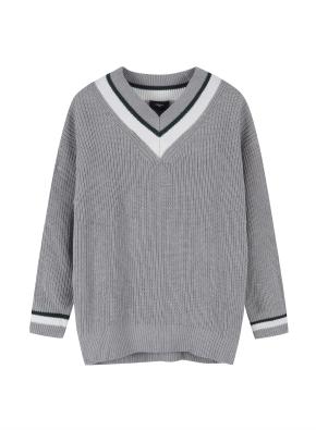 여성 브이넥 오버핏 스웨터 _ (MGR)