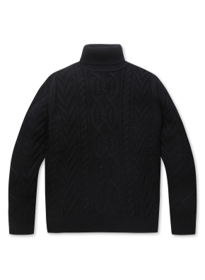 남성 케이블 터틀넥 스웨터 _ (BK)
