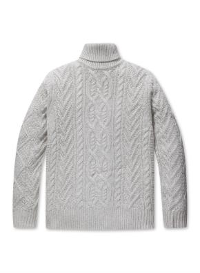 남성 울혼방 케이블 터틀넥 스웨터 _ (GR)