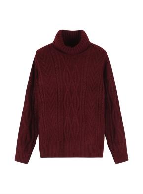 여성 케이블 터틀넥 스웨터 _ (BG)