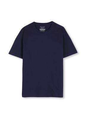 남여공용 라운드 베이직 싱글 티셔츠 _ (NV)