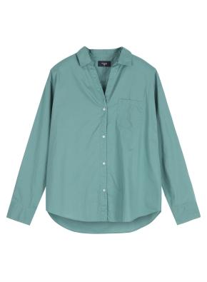 여성 포플린 솔리드 셔츠 _ (GN)