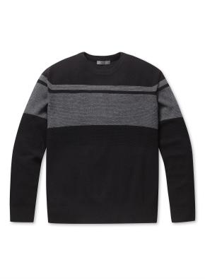 남성 블럭 배색 크루넥 스웨터 _ (BBK)