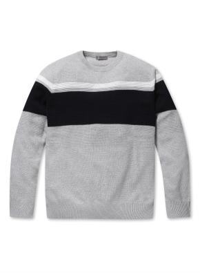 남성 블럭 배색 크루넥 스웨터 _ (BGR)