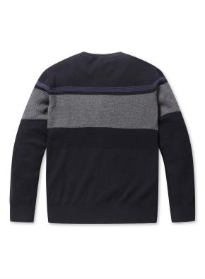 블럭 배색 크루넥 스웨터
