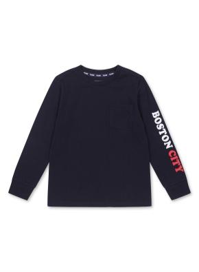 키즈 시그니쳐 긴팔 싱글 티셔츠 _ (NV)