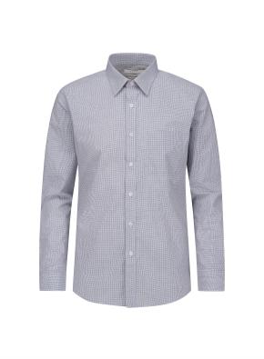 마이크로 체크 포켓 드레스 셔츠 (NV)