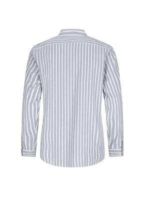 스트레치 면혼방 스트라이프 밴드카라 캐주얼셔츠 (BL)