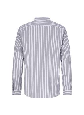 스트레치 면혼방 스트라이프 밴드카라 캐주얼셔츠 (NV)