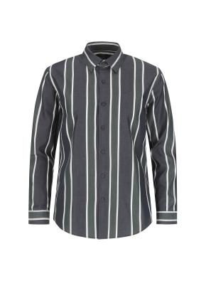 포플린 와이드스트라이프 캐주얼셔츠