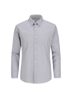 스트레치 면혼방 체크 드레스셔츠 (GR)