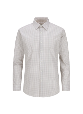 스트레치 면혼방 체크 드레스셔츠 (KH)