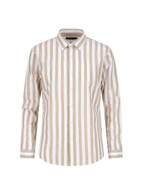 마혼방 볼드스트라이프 캐주얼셔츠 (BE)