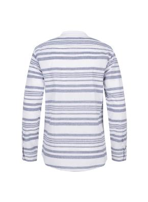 마혼방 가로 스트라이프 밴드카라 캐주얼셔츠