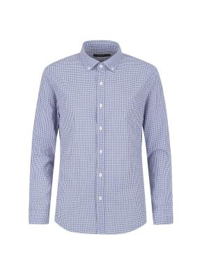 아이스코튼 미니체크 캐주얼셔츠 (BL)