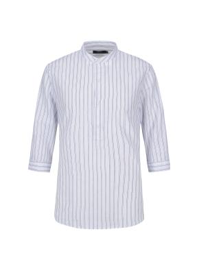 마혼방 스트라이프 밴드카라 칠부 캐주얼셔츠