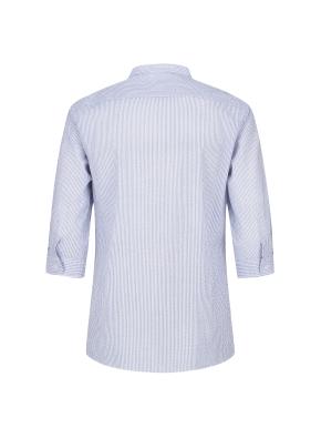 순면 니플 스트라이프 밴드카라 칠부 캐주얼셔츠