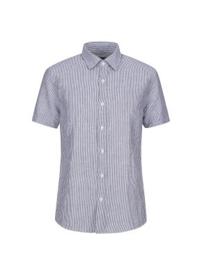마혼방 솔리드 반팔 캐주얼셔츠 (NV)