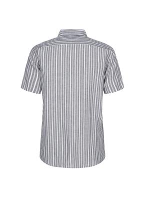 린넨혼방 멀티스트라이프 반팔 캐쥬얼 셔츠