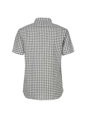 마혼방 깅엄체크 버튼다운 반팔 캐주얼셔츠 (KH)