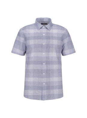 아이스코튼 투톤체크 반팔 캐주얼셔츠