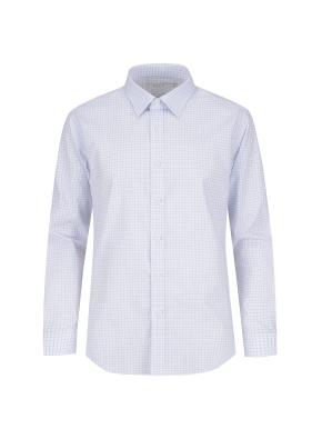 스트레치 면혼방 체크 드레스셔츠 (BL)