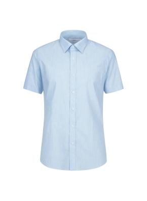 스트레치 면혼방 슬러브 솔리드 반팔 드레스셔츠 (BL)