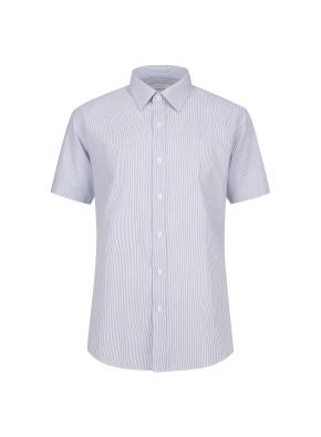 면혼방 스트라이프 반팔 드레스셔츠 (GR)