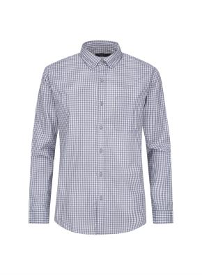 멜란지 깅엄체크 캐쥬얼 셔츠 (NV)