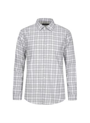 멜란지 컬러 체크 캐쥬얼 기모 셔츠