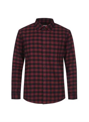 깅엄 체크 포켓 웜터치 셔츠 (RD)