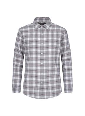 컬러 라인 체크 코튼 셔츠