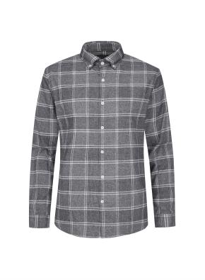 멀티 윈도우 체크 캐쥬얼 기모 셔츠 (GR)