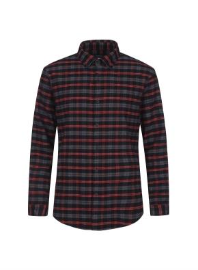 컬러 체크 포인트 웜터치 셔츠